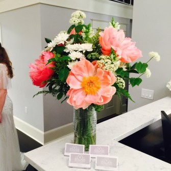 Gorgeous peonies for a downtown bridal boutique