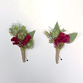 coxcomb and pod boutonniere