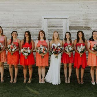 Coral wedding party