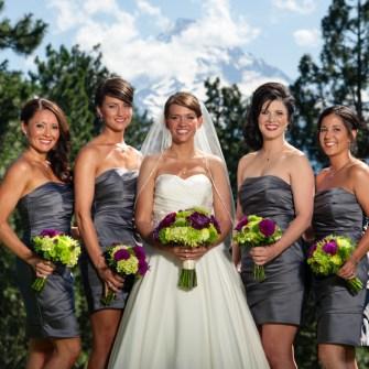 purple & green bouquets