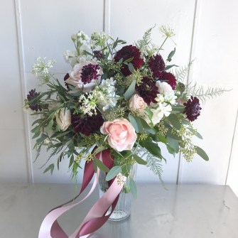 Boho blush, white & burgundy bouquet