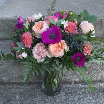 Lush peach & magenta garden-style bouquet