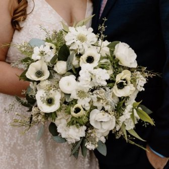 White & green bridal bouquet with local anemones