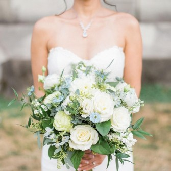 Light blue, white & green gardeny bouquet