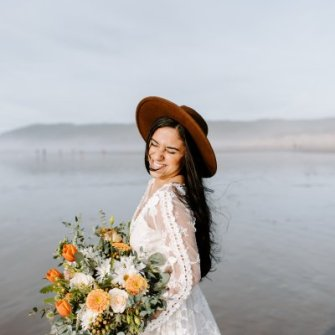 Boho bouquet with orange pops, Cannon Beach