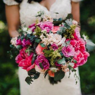 Magenta peonies garden-style bouquet
