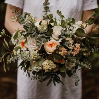 Juliet garden roses, eucalyptus and other beautiful blooms