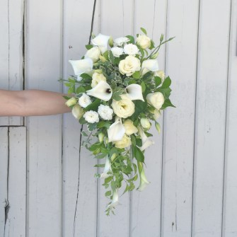 White & green cascading bridal bouquet