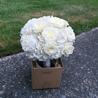 All white round bouquet