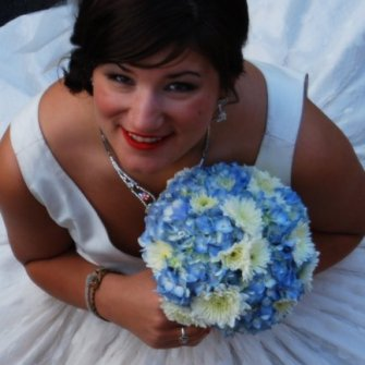 blue hydrandrea with mixed white flowers bridal bouquet