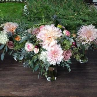 Bridal bouquet with cafe au lait dahlias & roses