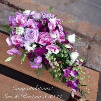 Cascading purple orchid bridal bouquet