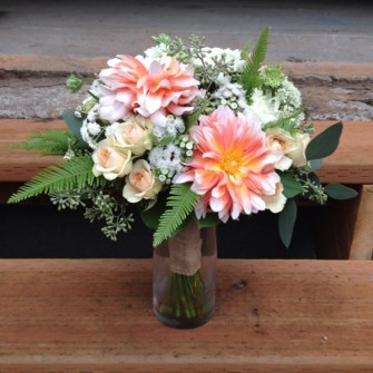 Peach roses and dahlias simple bridal bouquet