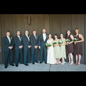 Bridal party of green & white bouquets