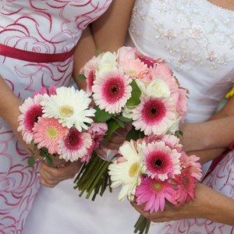 pink gerbera daisies and mixed flowers