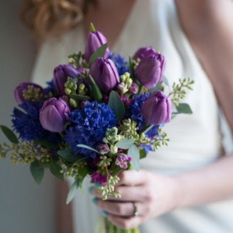 spring bouquet of blues and purples
