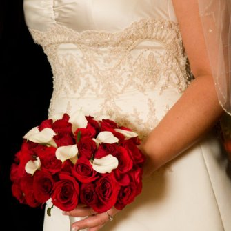 classic red roses with white calla lilies bridal bouquet