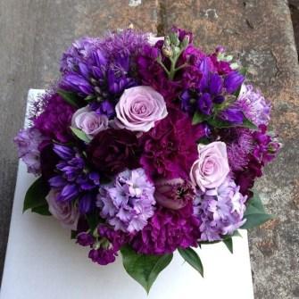 Shades of purple round bridal bouquet