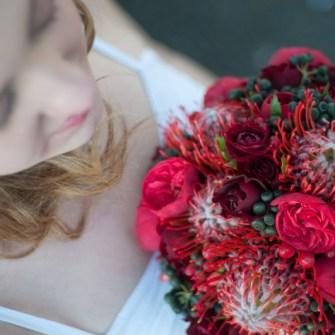 tropical reds bridal bouquet