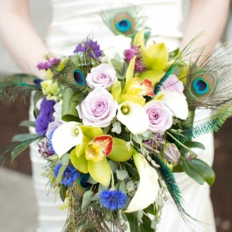 Peacock vintage style cascading bouquet
