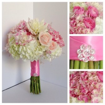 Pink & white bling bouquet