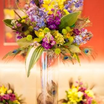 close-up tall floral arrangement