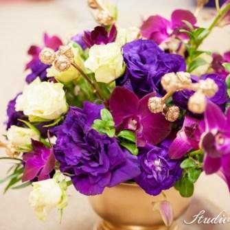 purple & gold orchid centerpieces