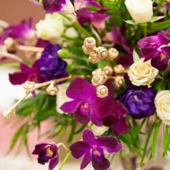 purple & gold orchid centerpieces - close-up