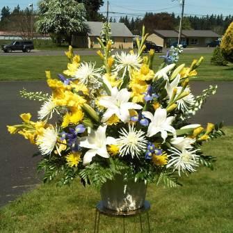 Flower arrangements gallery floral sunshine large premium arrangement of white lilies yellow flowers and blue irises mightylinksfo