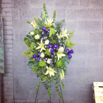 Purple, blue, green neutral memorial standing spray