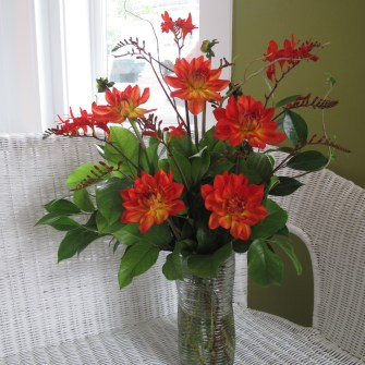 medium seasonal dahlia floral arrangement