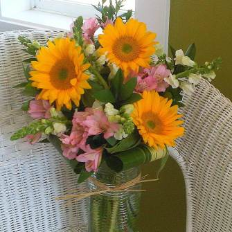 medium simple sunflowers with flowers and greenery