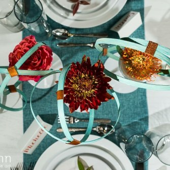 modern muted teal & rust orange tablescape