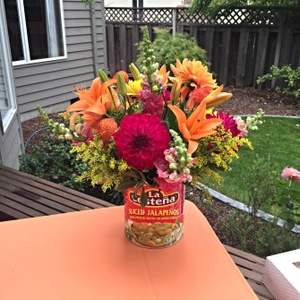 Fiesta Flowers in Mexican Food Cans