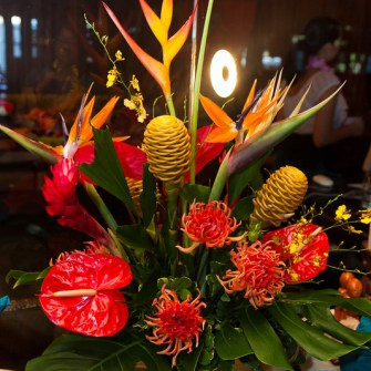 Large arrangement of tropical flowers with local spikey dahlias 1