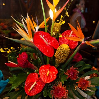 Large arrangement of tropical flowers with local spikey dahlias 2
