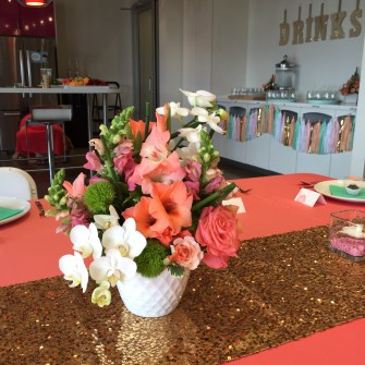 tropical inspired centerpieces for a bridal shower