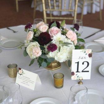 Flower arrangements gallery floral sunshine centerpiece in burgundy blush light pink and white mightylinksfo