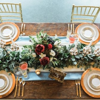 table centerpiece, plus eucalyptus garland runner