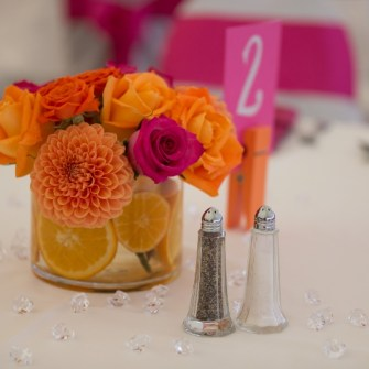 magenta & orange citrus centerpieces