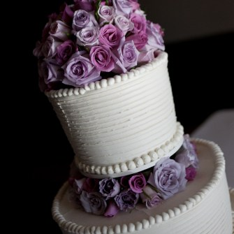 traditional roses on multi-layered cake