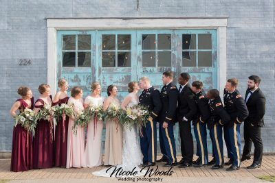 military bride and groom with bridesmaids and groomsmen