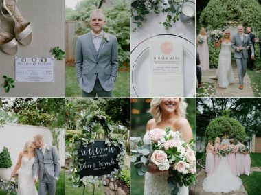 photo collage at hummingbird house manchaca tx with bridal bouquet and welcome sign garland
