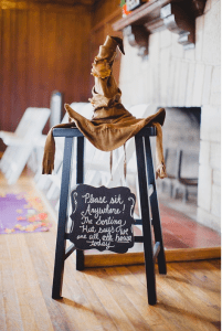 sorting hat a ta harry potter themed wedding