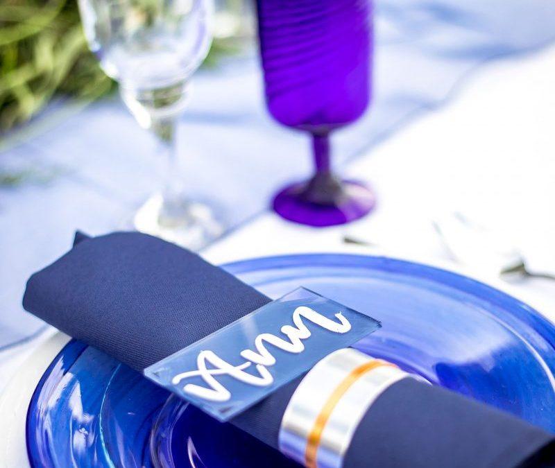 blue napkin on a blue plate