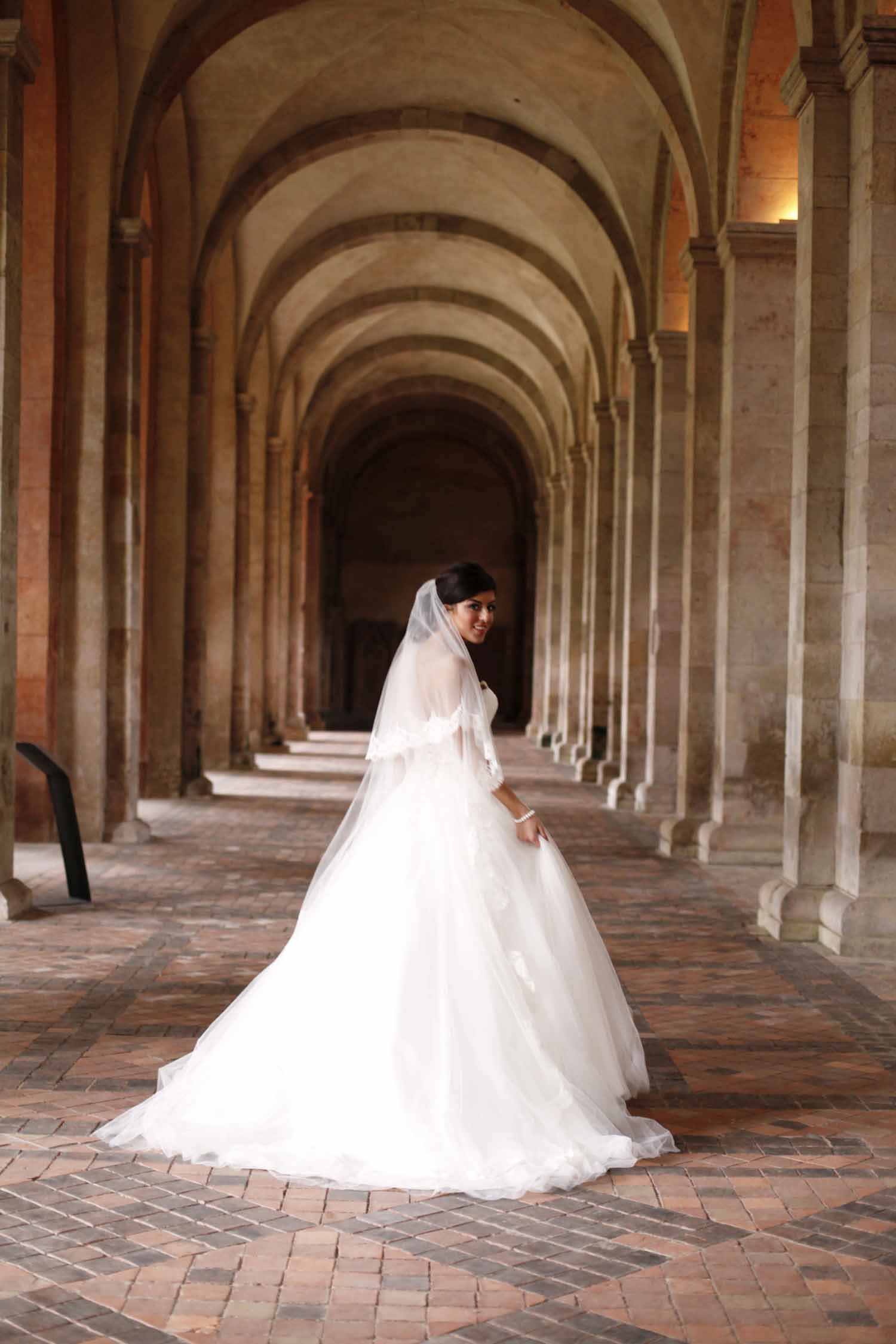 Bride at Kloster Eberbach, Germany, during wedding style shoot by Flora Nova Design