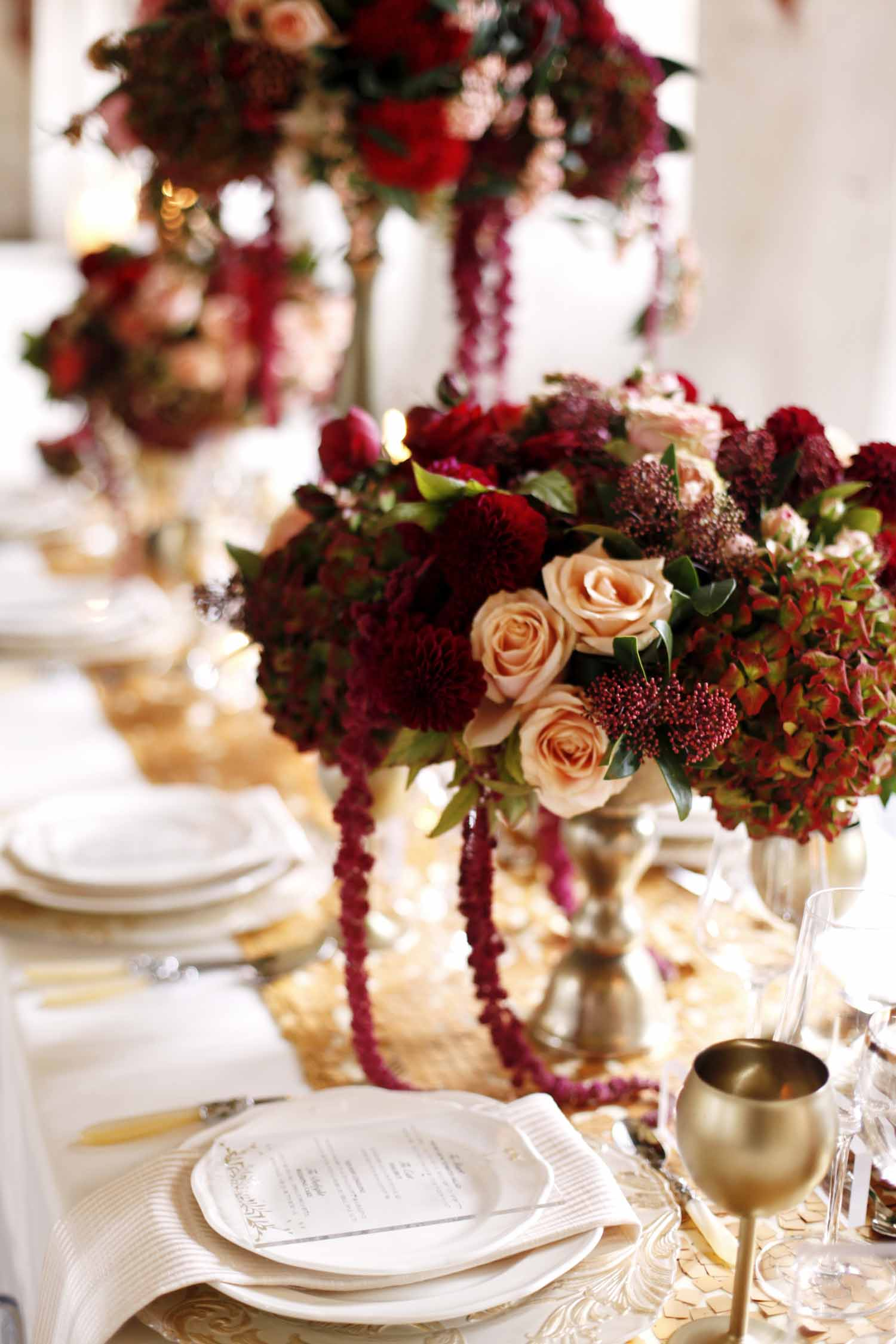 Burgundy and blush centerpiece in gold compote for Wedding Style Shoot in Kloster Eberbach, Germany, designed by Flora Nova Design, Seattle