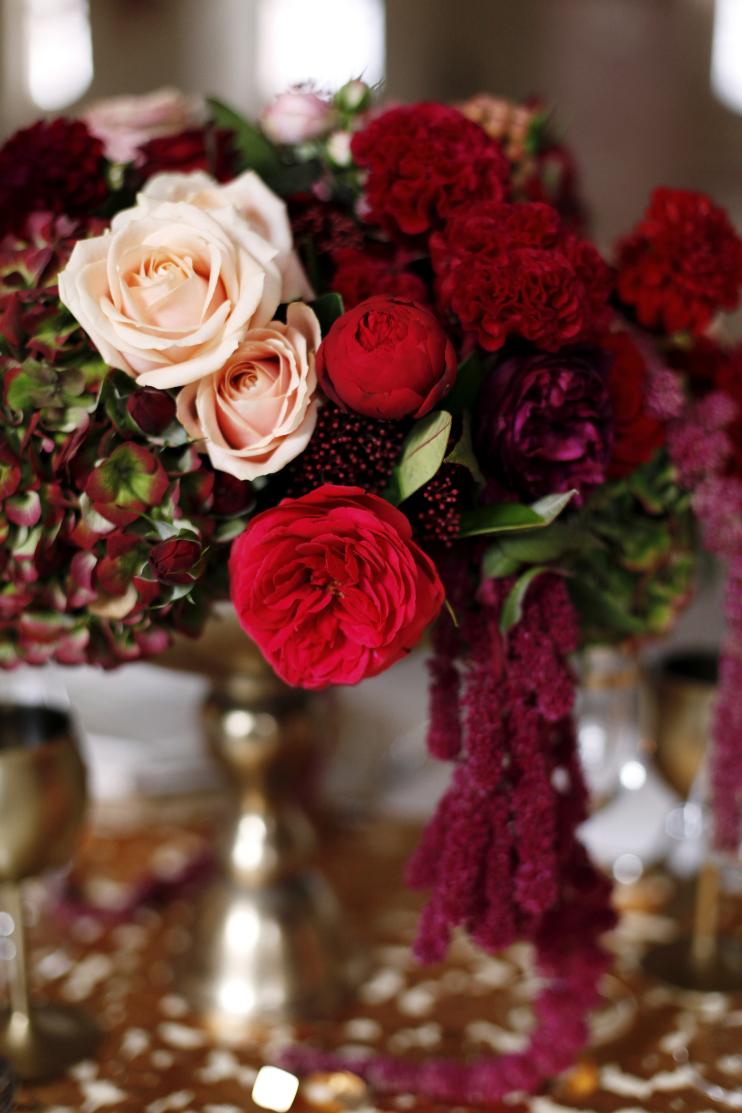 Red, burgundy, and blush centerpiece for Wedding Style Shoot in Kloster Eberbach, Germany, designed by Flora Nova Design, Seattle