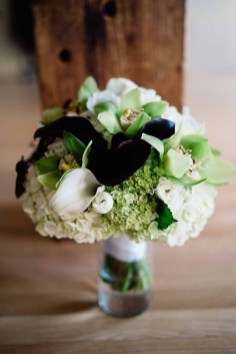 Flora Nova Design Seattle - Contemporary Black and White Seattle Art Museum Wedding. Black, White, and Green Bridal Bouquet withCalla, Cymbidium Orchid, Anemone, Ranunculus