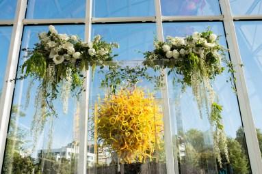 Flora Nova Design Seattle Clear Lucite Chuppah White floral Greens